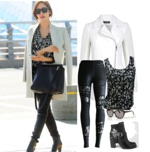 Floral Lace Leather Leggings are sale at US$ 4.99