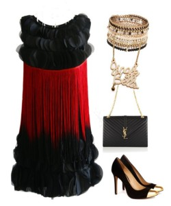 Black Red Fringe Cocktail Dress sale at US$ 14.82.