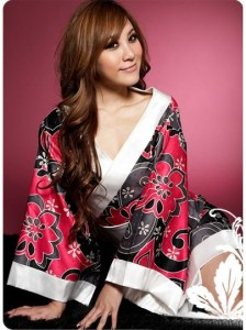 Fashion Flowers Printed Kimono Style Night Costume featured looks in their collections influenced by the East.