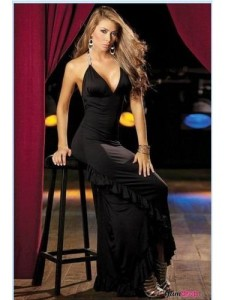 Deep-V Neck Black Long Dress With Ruffle Side Skirt is so pretty.