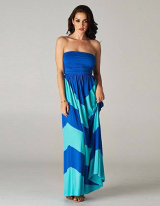 Contrast Color Stripes Long Gown Dress