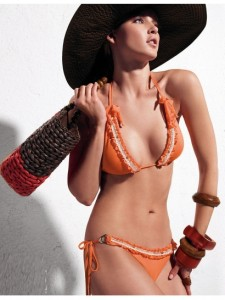 Low Cut Orange Fabric Spandex Bikini