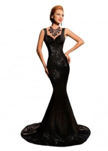 Black-Sequined-Backless-Bow-Detail-Evening-Mermaid-Dress-Y00014--4