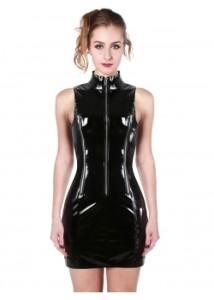 Black-Vinyl-Women-Sleeveless-Dress-WT32939-2
