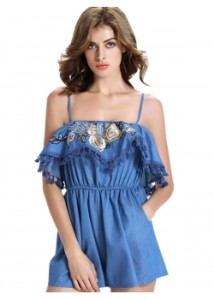 Blue-Women-Short-Embroidery-Jumpsuit-WT76283-1