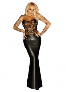 Leather-Women-Long-Strapless-Dress-W870484--1