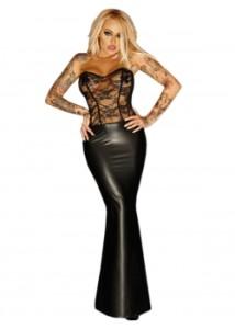 Leather-Women-Long-Strapless-Dress-W870484--1